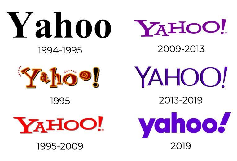 evoluzione del logo yahoo! con il nuovo logo 2019
