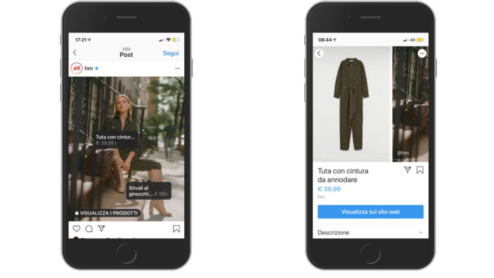 social commerce su Instagram tap shopping h&m