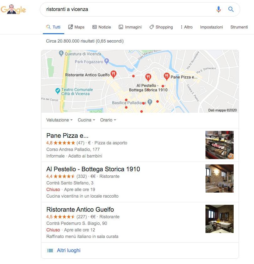 scheda tre risultati google my business posizione SEO zero vicenza