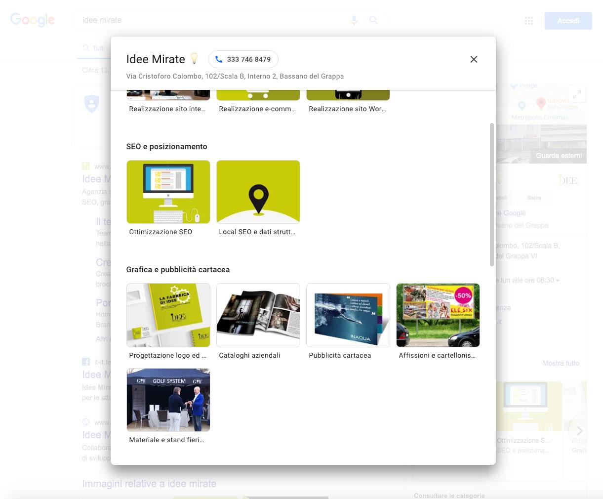 Prodotti e servizi Google my Business